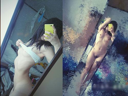 三次 女子大生がリアルな生活感溢れる部屋で全裸になったヘアヌード鏡撮り