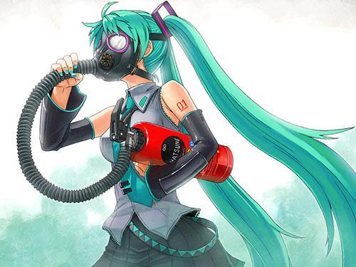 2次元 ガスマスクを被ってる女の子に興奮するエロ画像 50枚